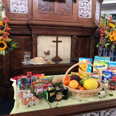 2017 harvest at Allhallowgate communion table